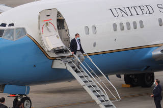 U.S. Secretary of HHS Azar walks off the plane as he arrives at Taipei Songshan Airport