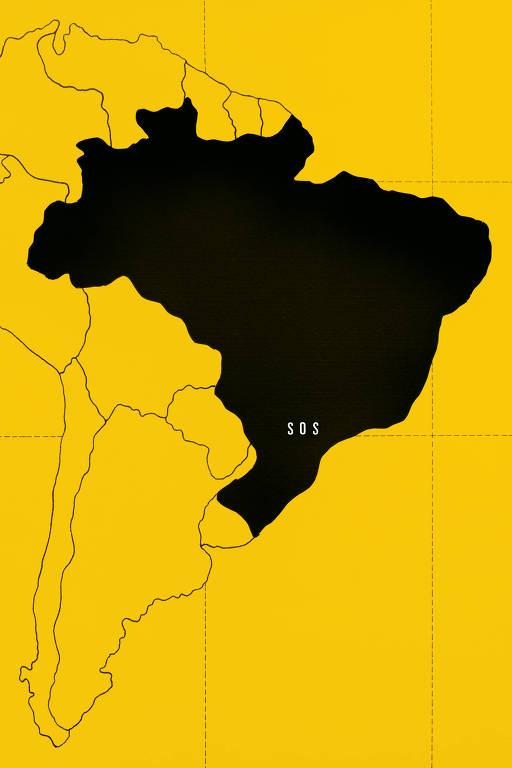 """Mapa da Améria do Sul todo amarela; Brasil está pintado de preto com a frase """"SOS"""" em branco"""