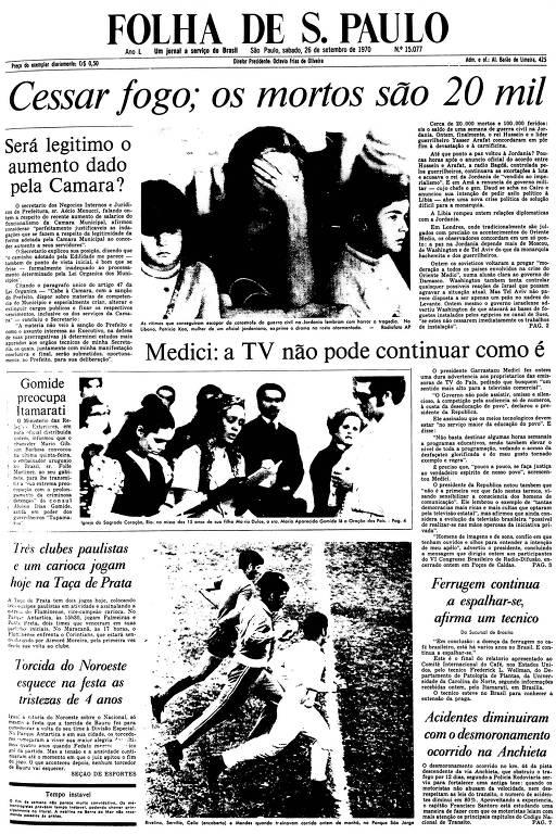 Primeira Página da Folha de 26 de setembro de 1970