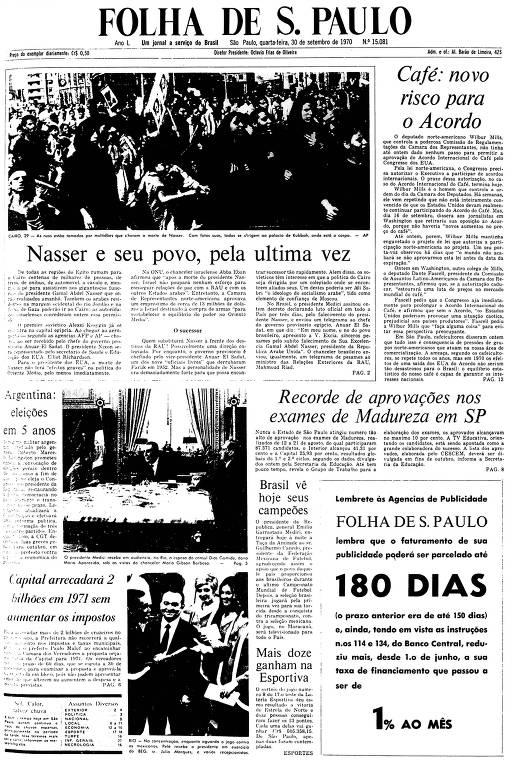 Primeira Página da Folha de 30 de setembro de 1970