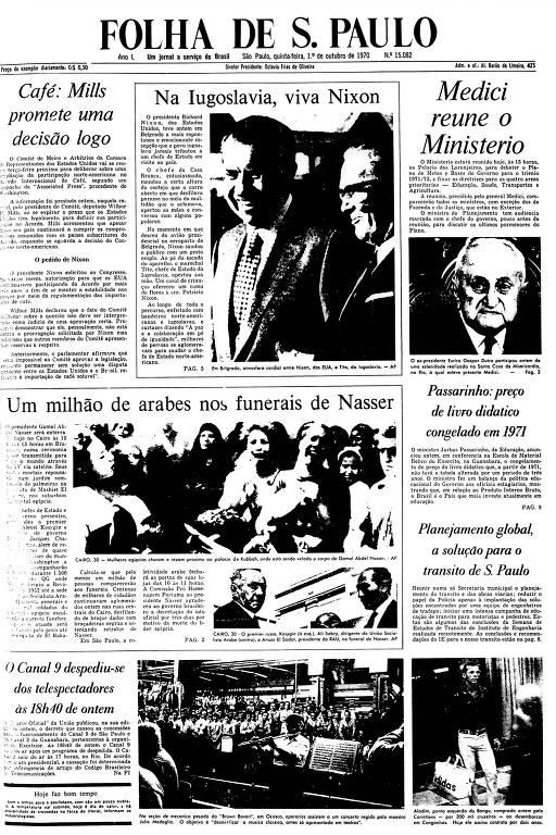 Primeira Página da Folha de 1º de outubro de 1970