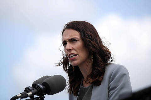 FILE PHOTO: New Zealand Prime Minister Jacinda Ardern speaks during a joint press conference held with Australian Prime Minister Scott Morrison at Admiralty House in Sydney, Australia, February 28, 2020.  REUTERS/Loren Elliott/File Photo ORG XMIT: FW1