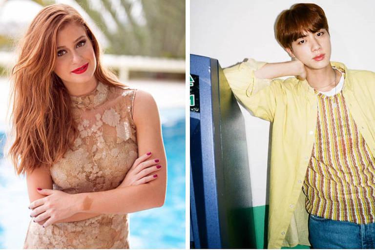 Marina Ruy Barbosa (à esq.) e Seokjin, do grupo BTS (à dir.)