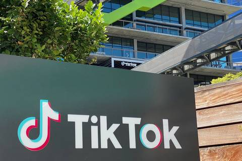 The logo of Chinese video app TikTok is seen on the side of the company's new office space at the C3 campus on August 11, 2020 in Culver City, in the westside of Los Angeles. (Photo by Chris DELMAS / AFP)