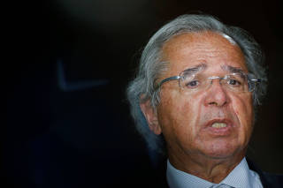 Brazil's Economy Minister Paulo Guedes speaks during a news conference in Brasilia