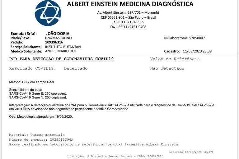 Resultado do exame do tipo PCR para detecção do novo coronavírus em João Doria