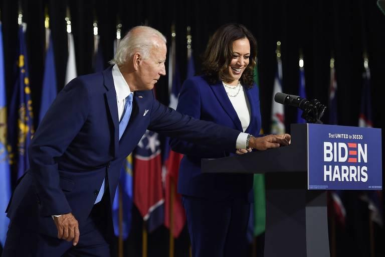 O ex-vice-presidente Joe Biden apresenta sua vice, Kamala Harris, em primeiro evento conjunto de campanha em Wilmington, Delaware