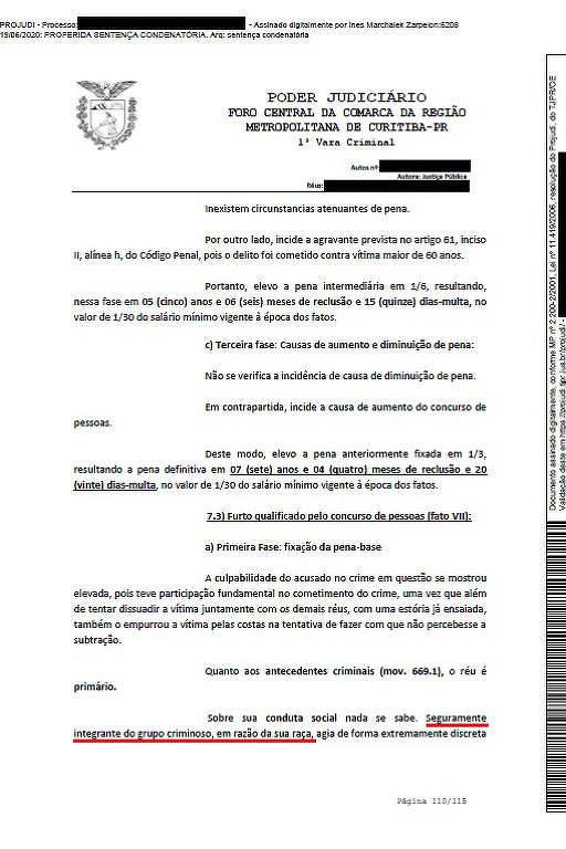 Juíza escreveu que réu era integrante de grupo criminoso por causa da sua raça, em Curitiba; imagem mostra a sentença, ressaltando a frase racista