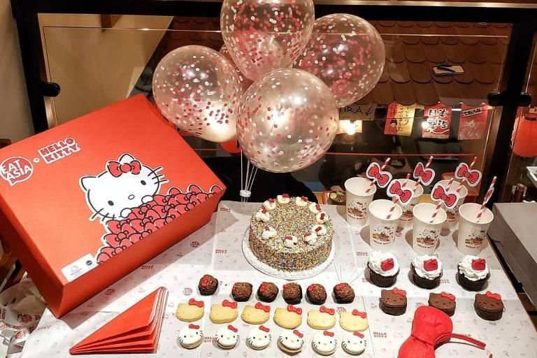 Restaurante da Eat Asia + Hello Kitty, em São Paulo, lança caixa de festa de aniversário; kit inclui doces e decoração