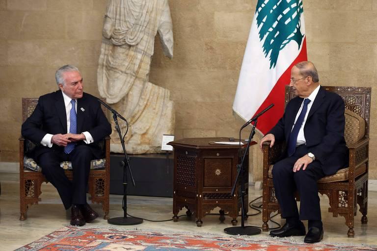 Temer se encontra com presidente libanês e entrega ajuda enviada pelo Brasil