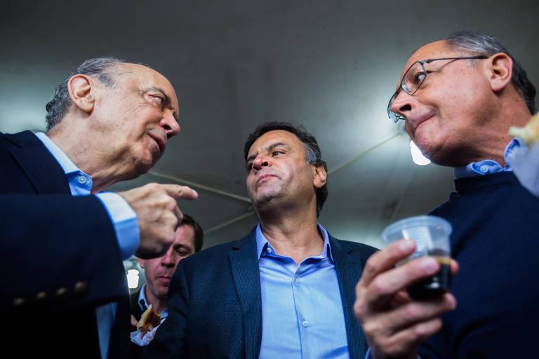 O trio de ex-presidenciáveis tucanos José Serra, Aécio Neves e Geraldo Alckmin