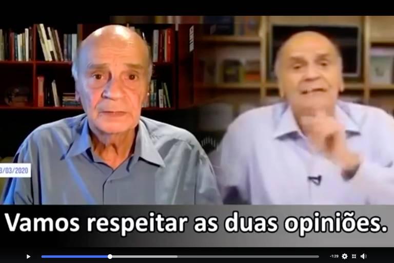 Frame de vídeos com imagens sobrepostas do médico Drauzio Varella