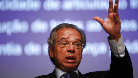 Brazil's Economy Minister Paulo Guedes attends an event of the Privatization of the electricity sector in Rio de Janeiro, Brazil February 8, 2019. REUTERS/Pilar Olivares ORG XMIT: SMS206