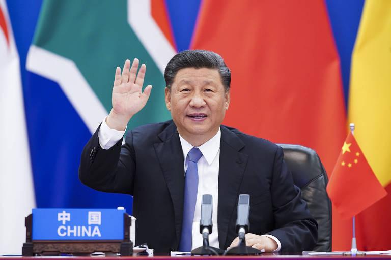 O líder chinês, Xi Jinping, durante reunião de cúpula com países africanos para tratar de ações ao combate à Covid-19