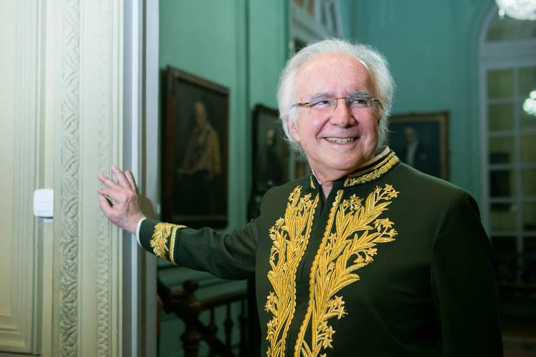 O advogado Joaquim Falcão na sua cerimônia de posse da cadeira 3 da Academia Brasileira de Letras