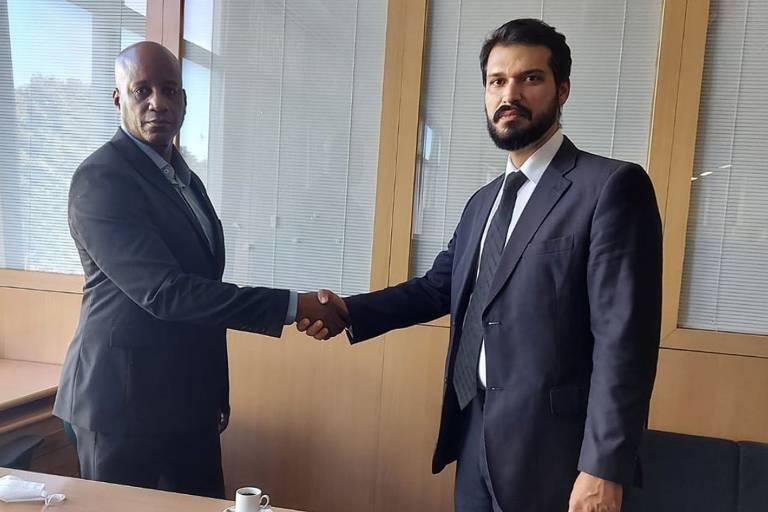 Sérgio Camargo, presidente da Fundação Palmares, e Victor Hugo Diogo Barboza, nomeado para coordenação de apoio a quilombos da Fundação
