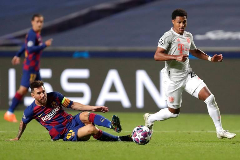 Lionel Messi, que teve atuação apagada, cai em jogada com Serge Gnabry