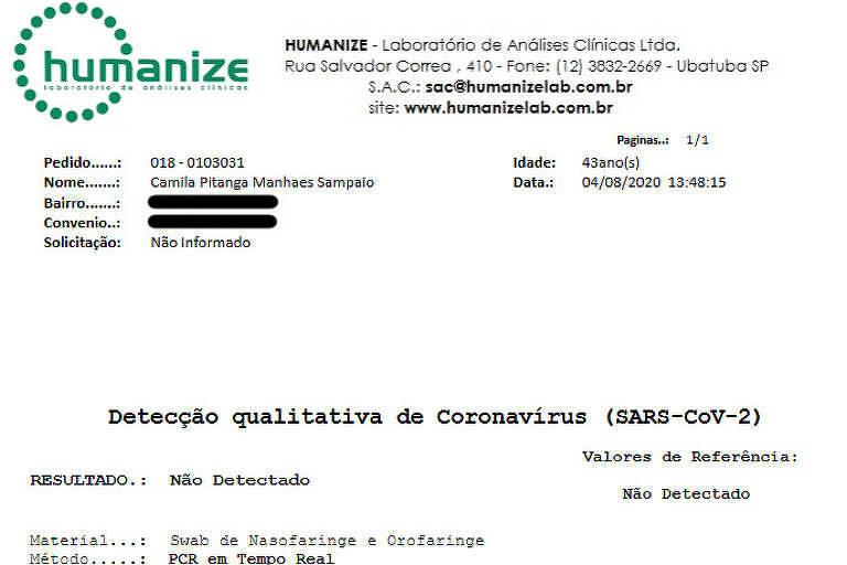 Atriz Camila Pitanga divulgou resultado negativo para exame de Covid-19