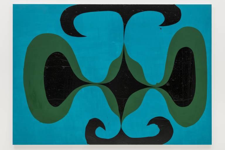 Tela abstrata com fundo azul e formas pretas e verdes