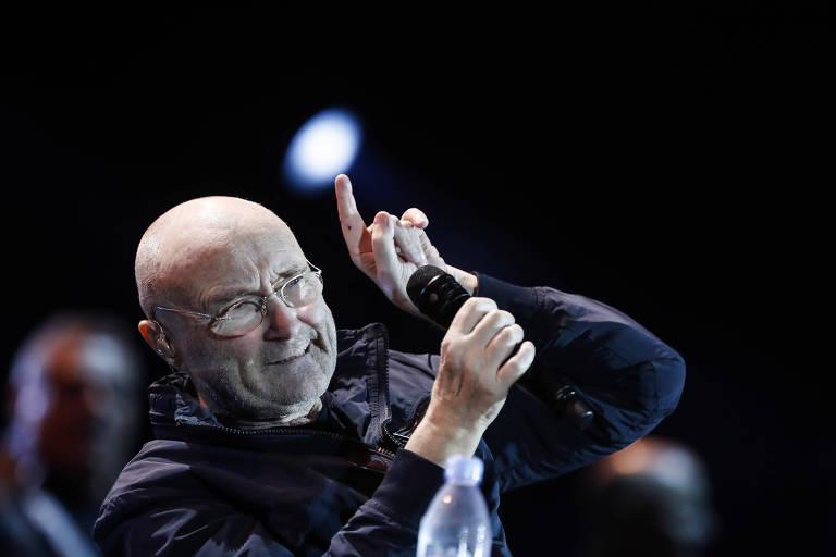 O cantor britânico Phil Collins se apresenta no Allianz Parque, em 2018