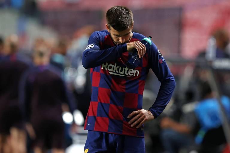 Gerard Pique após a eliminação para o Bayern de Munique