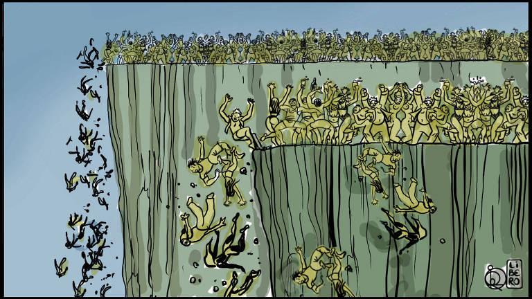 Ilustração muitas pessoas brigando perto do limite de um planalto e várias estão caindo