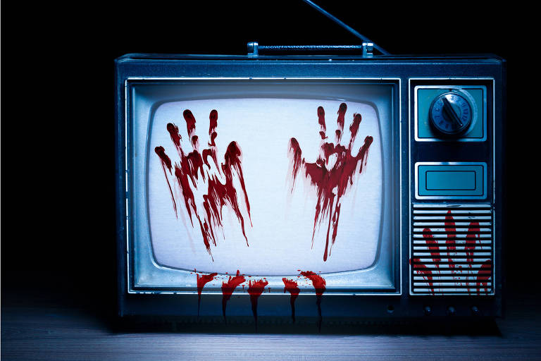 Ilustração mostra televisão com marcas vermelhas de mãos