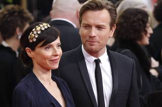 Actor Ewan McGregor and his wife Eve Mavrakis arrive at the 69th annual Golden Globe Awards in Beverly Hills