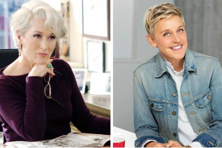 """Meryl Streep em cena de """"O Diabo Veste Prada"""" (à esq.) e a apresentadora Ellen DeGeneres"""