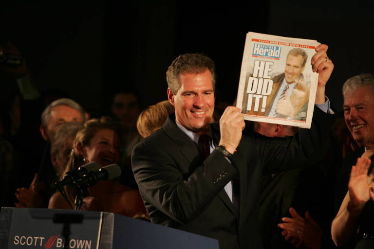 FILE -- Scott Brown celebrates his upset victory to fill a vacant Senate seat from Massachusetts, in Boston, Jan. 19, 2010. Brown's win made it clear to members of both parties that they had been wrong to underestimate the Tea Party?s potential. (Bryce Vickmark/The New York Times)