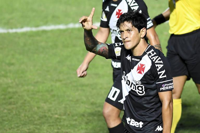Germán Cano comemora gol contra o São Paulo