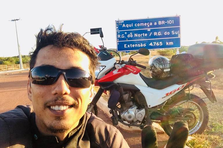 Motociclista visita vários estados do Sudeste e do Nordeste