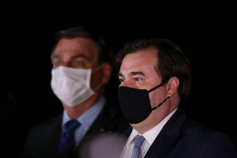 O presidente Jair Bolsonaro e o presidente da Câmara, Rodrigo Maia