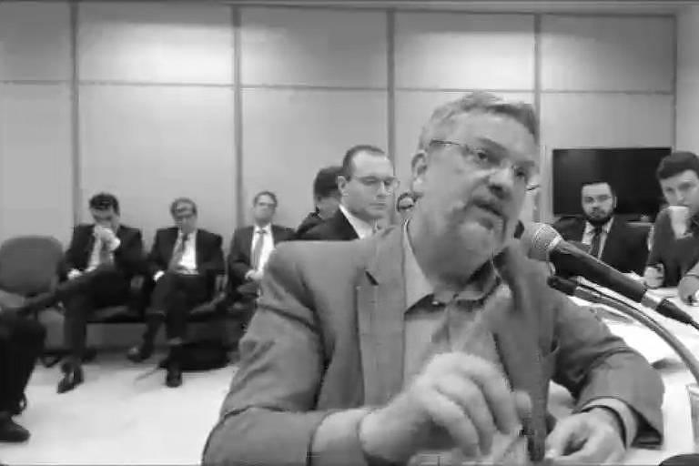 O ex-ministro Antonio Palocci em depoimento ao então juiz Sergio Moro, em setembro de 2017