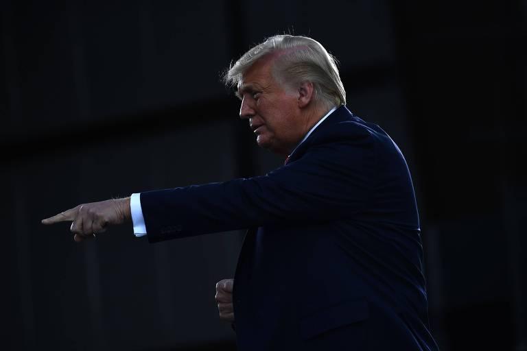 Presidente dos Estados Unidos, Donald Trump, em Oshkosh, Wisconsin