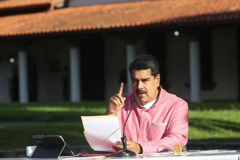 O ditador da Venezuela, Nicolás Maduro, durante pronunciamento transmitido pela TV a partir de Caracas