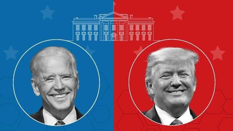 montagem mostra retrato de biden (com fundo azul) e de Trump (com fundo vermelho)