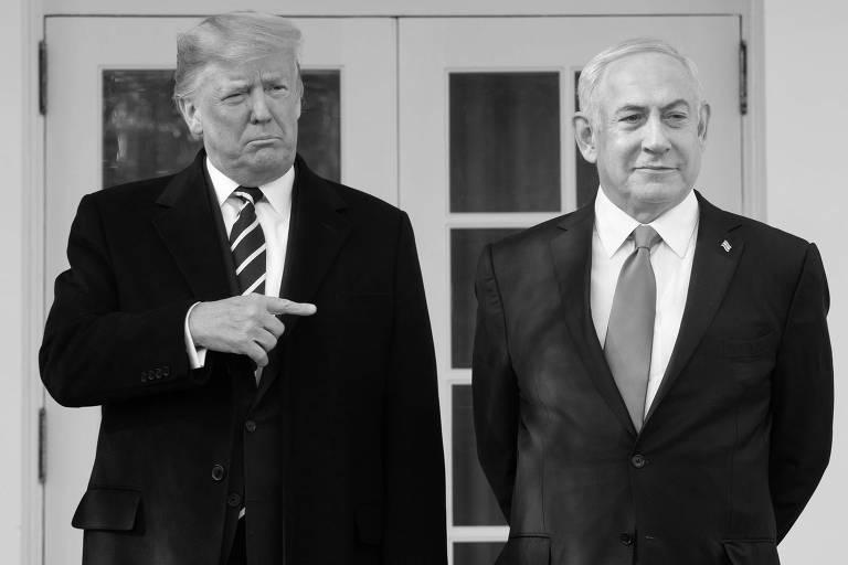 O presidente dos EUA, Donald Trump, e o primeiro-ministro de Israel, Binyamin Netanyahu, durante coletiva de imprensa
