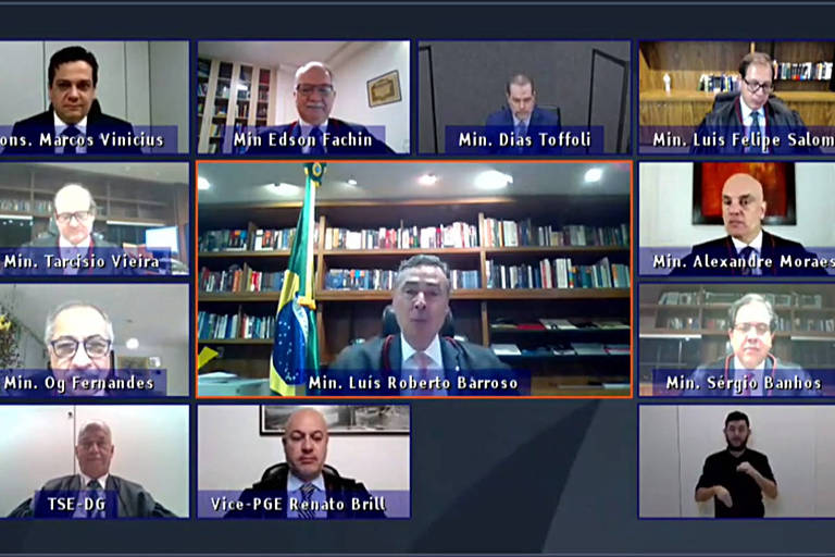 Print de tela que mostra videoconferência com 12 ministros