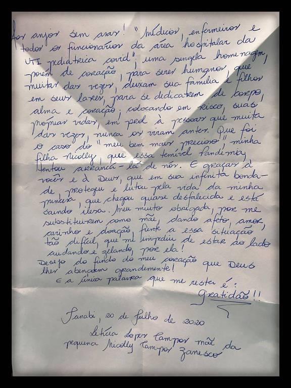 A carta escrita por Letícia, mãe de Nicolly, para a equipe médica do Hospital da Criança e Maternidade, em São José do Rio Preto (SP)