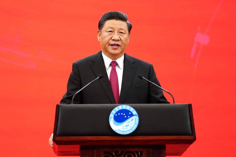 O líder chinês, Xi Jinping, durante cerimônia em Pequim