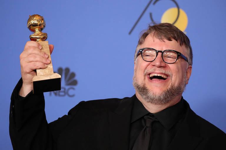 O diretor Guillermo del Toro, de 'A Forma da Água', no Globo de Ouro