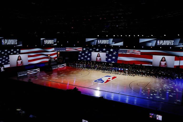 Los Angeles Lakers e Portland Trail Blazers antes de duelo pela NBA, na 'bolha' da Flórida
