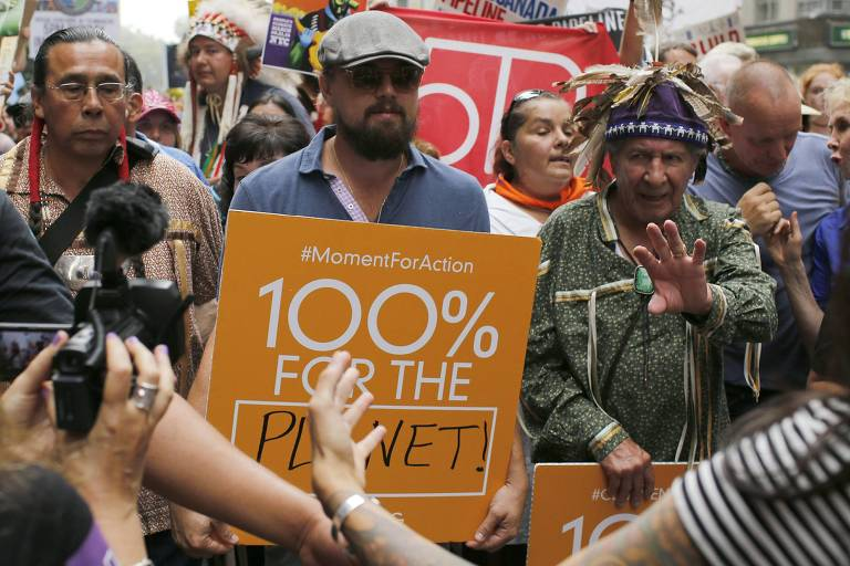 O ator Leonardo DiCaprio em protesto contra as mudanças climáticas em 2014, em Nova York