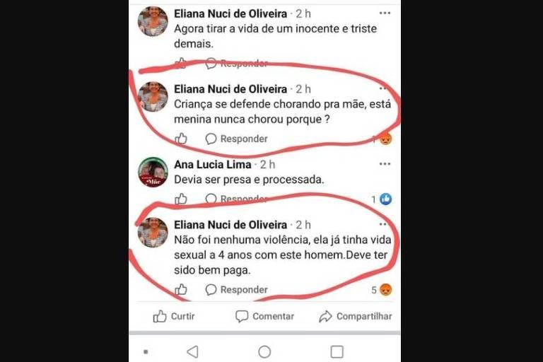 Postagem de professora estadual sobre caso de estupro no Espírito Santo