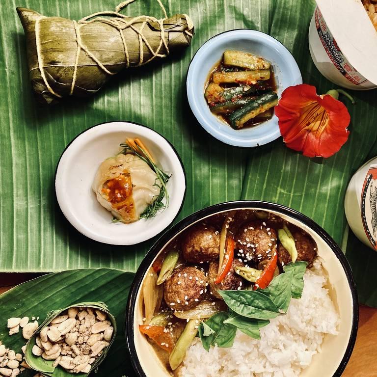 Pratos do menu do Isla Oriente, marca do Isla Café que só trabalha com entregas