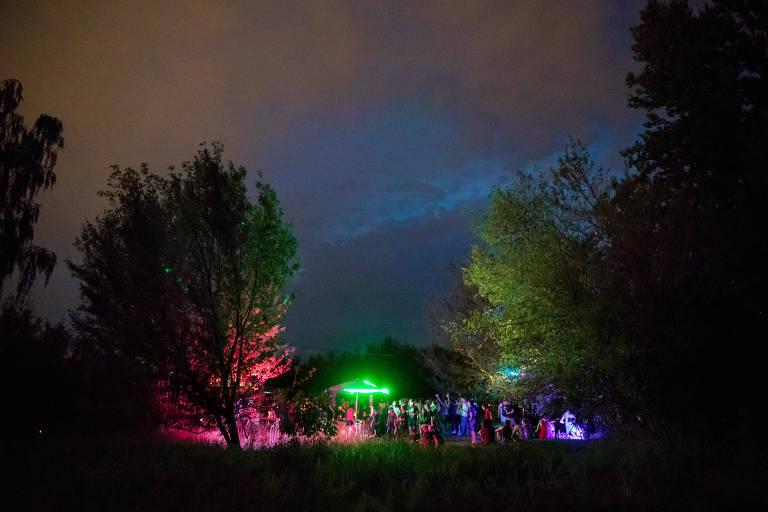 Árvores iluminadas por luzes neon coloridas. Bosque repleto de multidão