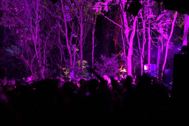 Multidão dança e filma festa com celulares. Árvores brilham com luzes neon rosa