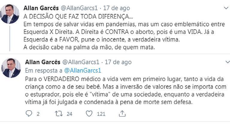 Publicação do médico Allan Garcês, coordenador do Ministério da Saúde