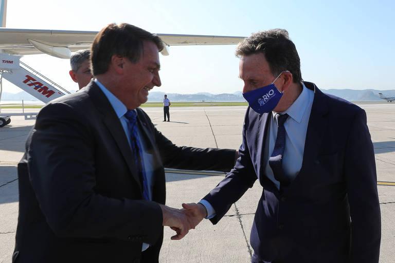 O presidente Jair Bolsonaro e prefeito Marcelo Crivella